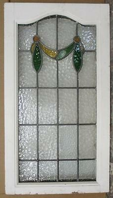 """LARGE OLD ENGLISH LEADED STAINED GLASS WINDOW Pretty Swag 33.25"""" x 18.5"""""""