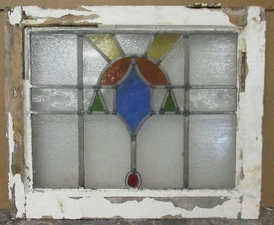 "OLD ENGLISH LEADED STAINED GLASS WINDOW Pretty Abstract 20"" x 16.5"""