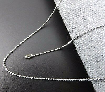 """14-28"""" 1.5mm Bead Ball Chain Silver Colour Soldier Tag Necklace Stainless Steel"""