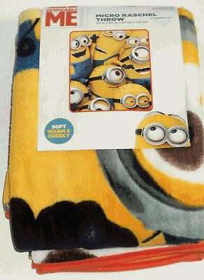 NEW Despicable Me Minion Made Minions Madness Micro Raschel Throw Blanket 50x60