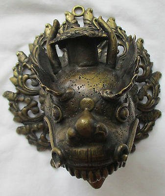 Vintage Bronze Dragon Head Wall Hanging Candle Holder - Nepal
