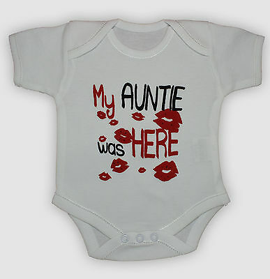 Funny New 100% Cotton My Auntie Was Here Baby Toddler Bodysuit Grow 0-24 months