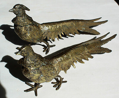 Pair Metal Brass Pheasant