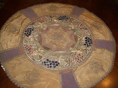 Antique Victorian Table Cover Round Doily Ornate Embroidered Gold Thread Edging