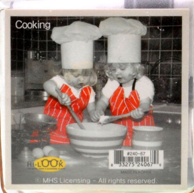 NEW Young Girls Cooking with Red Aprons Microfiber Glasses Cleaning Cloth