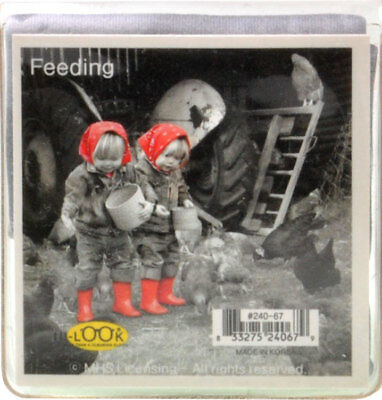 NEW Young Girls With Red Scarf Feeding Chickens Microfiber Glasses Cleaning Clot