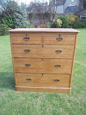 Antique ash wood chest of drawers, 2 over 3 drawers, original handles