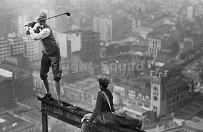 Picture Photo New York City Iron workers Golfer Teeing Off On Girder 1587