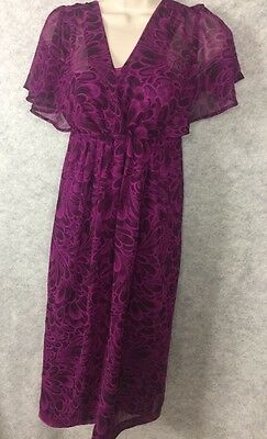 OLD NAVY MATERNITY SZ S Small LINED V NECK S/S AIRY DRESS Purple Floral