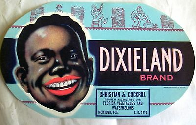 Unused Lithographed Fruit Crate Box Label Dixieland Brand Fla. Black Americana