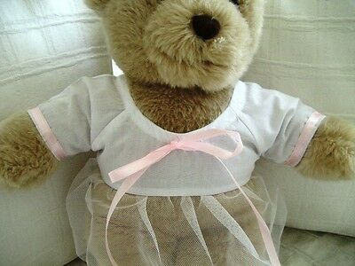 Teddy Bear Clothes, Handmade Sabella White with Pink Trim Dress