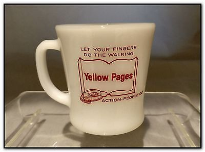 Vtg Anchor Hocking Fire King Coffee Mug Cup Yellow Pages Advertising Phone Book