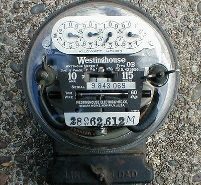 Vintage Westinghouse Electric Watt Hour Meter Dials Glass Dome 115 Volts 10 Amp