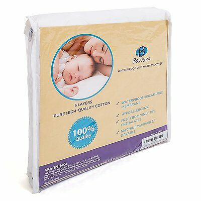 5-Layer Waterproof Fitted Crib Protective Mattress Pad Cover Hypoallergenic
