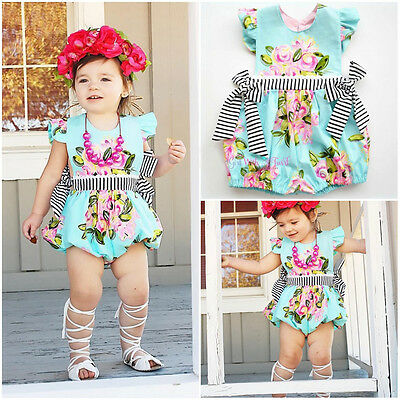 Newborn Baby Girl Floral Bodysuit Romper Jumpsuit Summer Outfit Clothes US Stock