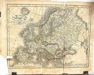 Original 1817 Map of Europe according to the Treaty of Vienna 1815