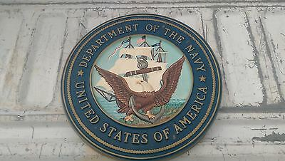 """Vintage United States Department of the Navy Sign 15"""" Rare USN"""