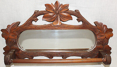 Victorian Walnut Towel Bar w/Oval Mirror, Black Forest, circa 1890's