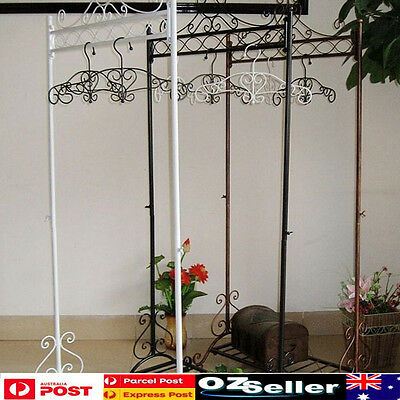 2x Wrought Iron Clothes Hanging Rail Rack Shop Display Stand Dress Coat Rack New