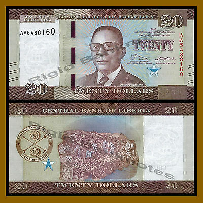Liberia 20 Dollars, 2016 P-New New Design Unc