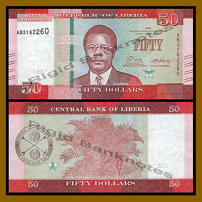 Liberia 50 Dollars, 2016 P-New New Design Unc