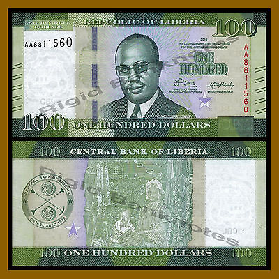 Liberia 100 Dollars, 2016 P-New New Design Unc