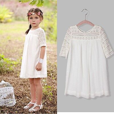 New Kids Baby Girls White Lace Floral Party Dress Gown Formal Dresses US Stock