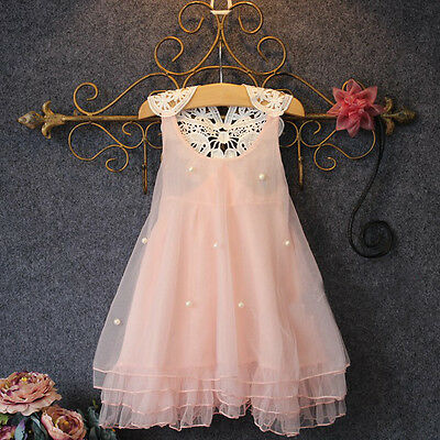 Baby Flower Girls Party Lace Dress Bridesmaid Dresses Summer Sundress US Stock