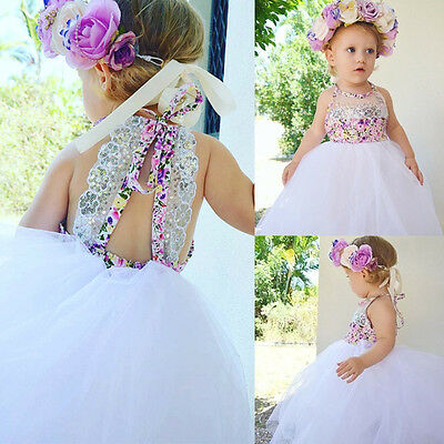 Sequins Baby Kids Girls Party Dresses Tulle Tutu Floral Dress Sundress US Stock