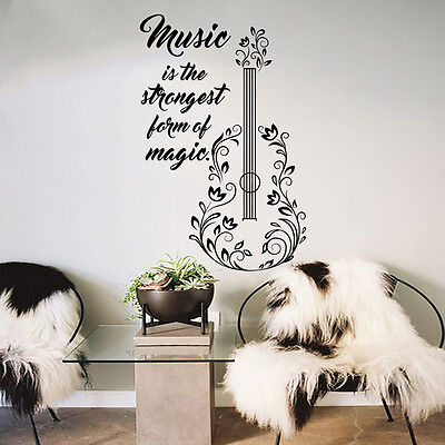 GUITAR WALL DECALS Quotes Decal Vinyl Stickers Music Decal Bedroom ...