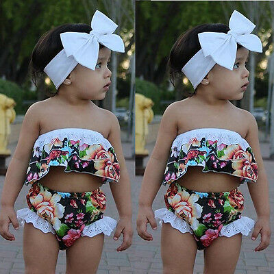 USA Newborn Baby Girl Romper Bodysuit + Headband Outfits Floral Sunsuit Clothes