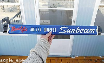 Original 1950's Vintage Sunbeam Bread Double Sided Door Push Bar Sign N/mint!