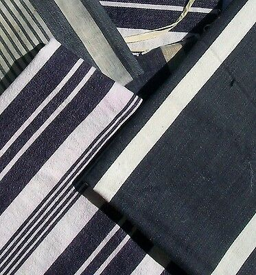 Vintage French 1930s Striped Ticking Fabric Herringbone Breton Midnight blue