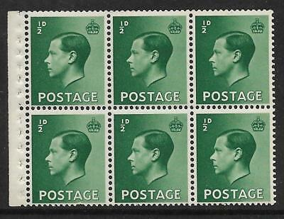 PB1 ½d Edward VIII Booklet pane imperf perf type E UNMOUNTED MINT