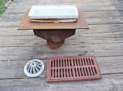 "Vintage WADE cast iron or steel floor sink drain w/ grate cover, LARGE 12"" x 6"""