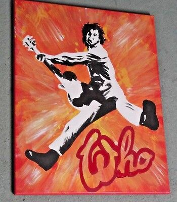 THE WHO, PETE TOWNSHEND  ,.HAND PAINTED canvas 20 X 16  INS..READY TO HANG MOD b