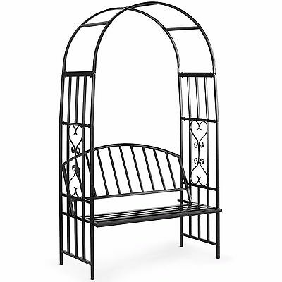VonHaus Metal Arbour with Two Seater Bench for Climbing Plants Flowers Roses