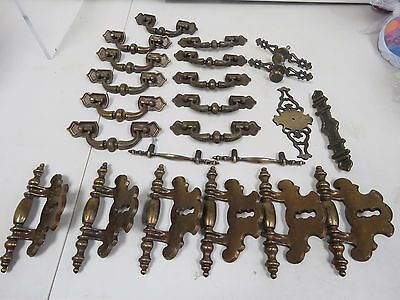 24 pc Lot Vintage Large Antique Gold Gothic Cabinet Handles Drawer Pulls I279K