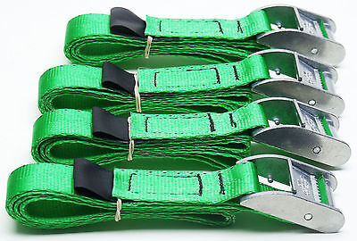 4-pack GREEN 0.8m x 25mm Cam Buckle Endless Lashing 400kg; Cargo Straps