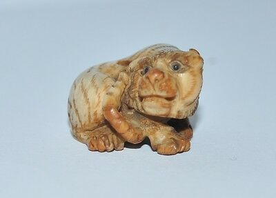 a master piece of antique tiger, a size of 2 cm x 2 cm x 1.5 cm, a hole in middl