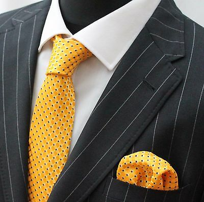 Tie Neck tie with Handkerchief Yellow with small blue square