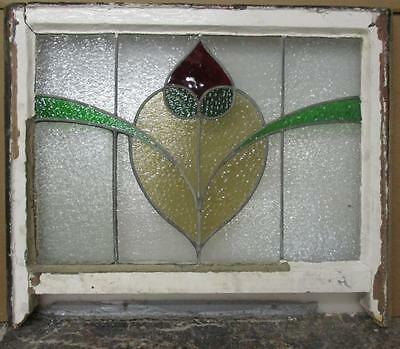 "EDWARDIAN ENGLISH LEADED STAINED GLASS WINDOW Floral Sash 27.25"" x 23"""