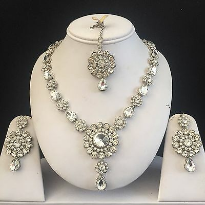 Clear Silver Kundan Indian Costume Jewellery Necklace Earrings Crystal Set New 5