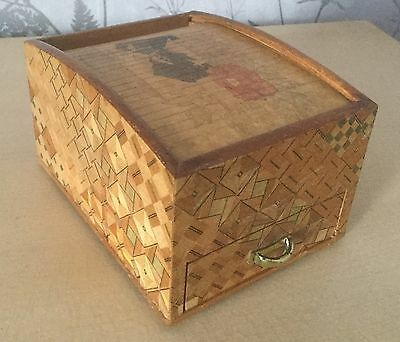 Vintage Japanese Marquetry Roll Top Box With Sound Effects Drawer