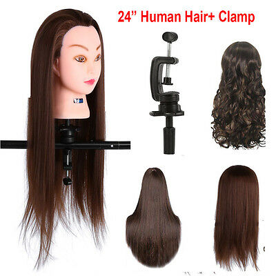 "24"" 30% Real Human Hair Hairdressing Practice Training Head Doll Mannequin Clamp"