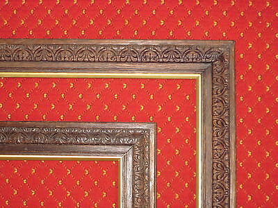 A Pair Of Late 19Th C Carved Picture Frames With Bronze Gilt Slips