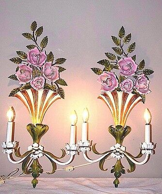 Lovely Antique Pair of Tole Floral / Roses Electric Wall Sconces - Made in Italy