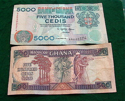 GHANA Lot of 2 Currency Notes----500 & 5000 Cedis currency notes.==Circulated