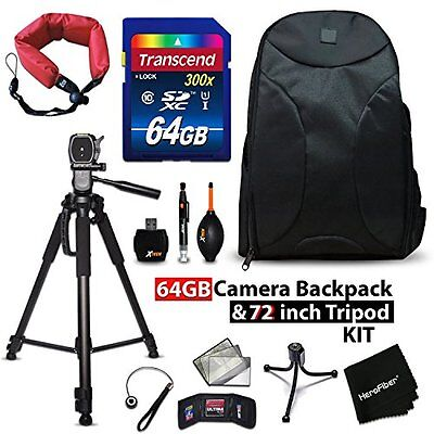 64GB + BACKPACK Kit for Canon EOS 1300D w/ 64GB Memory + BACPK + MORE
