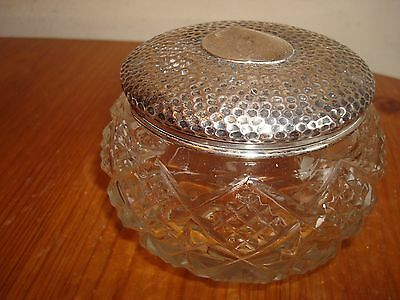 Antique Silver Topped Ladies Dressing Table Cut Glass Bowl Birmingham 1904